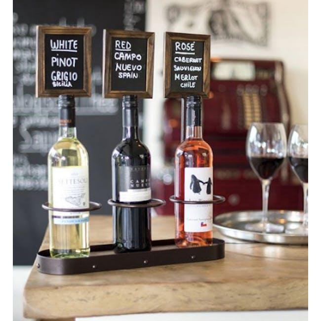 Securit Steel Triple Wine Bottle Display with Chalkboard - 2