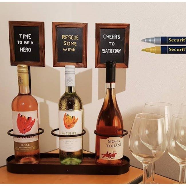 Securit Steel Triple Wine Bottle Display with Chalkboard - 1