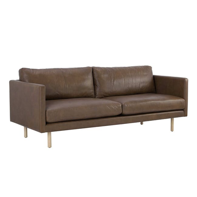 Rexton 3 Seater Sofa - Brown (Genuine Cowhide), Down Feathers - 1