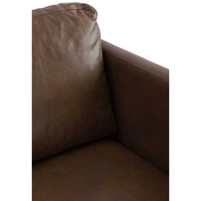 Rexton 3 Seater Sofa - Brown (Genuine Cowhide), Down Feathers - 3