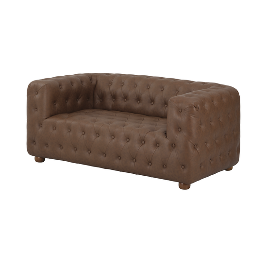 Alexander Loveseat Mocha Faux Leather Apartment Sofas