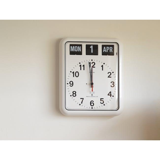 TWEMCO Analog Calendar Flip Wall Clock - White - 3