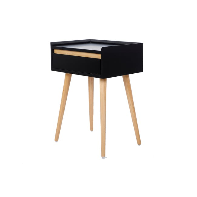 Hank Single Bed in Hailstorm with 1 Dalton Bedside Table in Natural, Black - 11