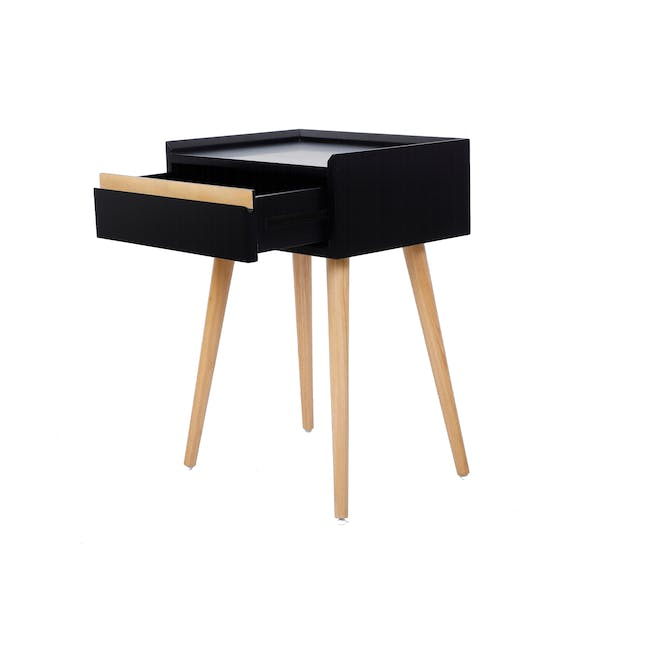 Hank Single Bed in Hailstorm with 1 Dalton Bedside Table in Natural, Black - 12
