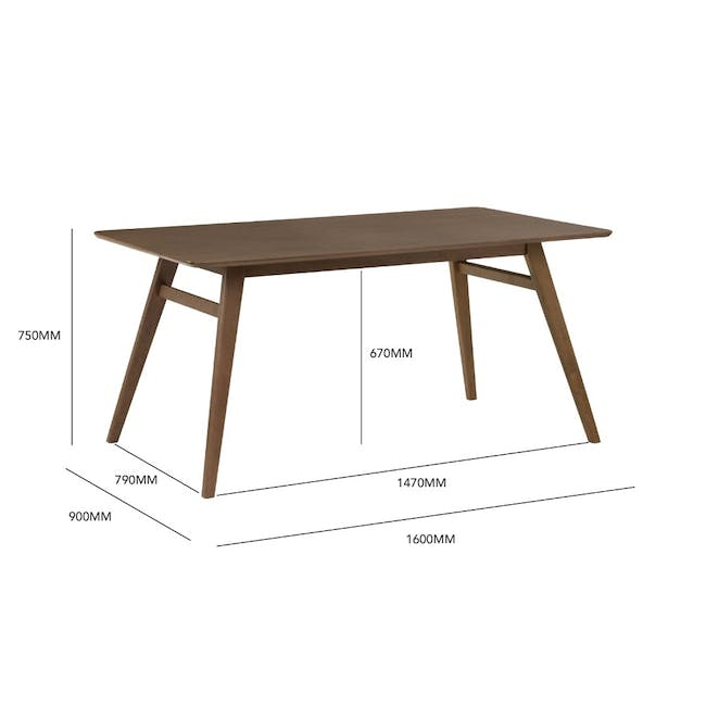 Cadell Dining Table 1.6m in Walnut with 4 Lofti Dining Chair in Cocoa, Battleship Grey - 7
