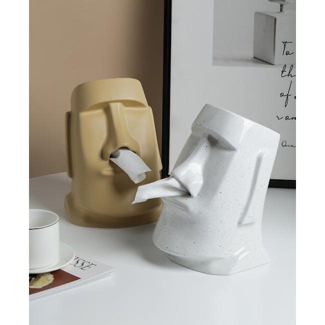 Moai Head Tissue Holder - White - 2