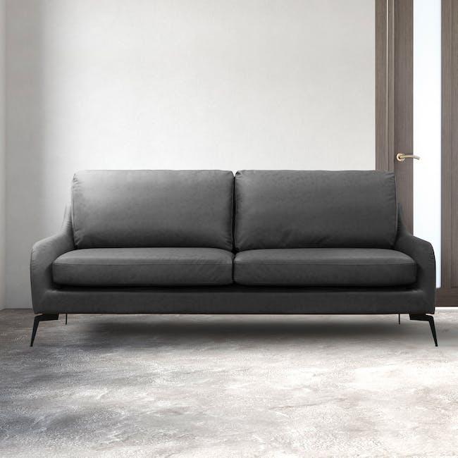 Wellington 3 Seater Sofa - Lead Grey (Faux Leather) - 4