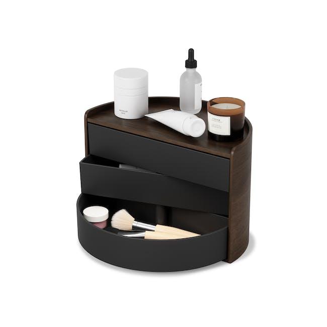 Moona Rotating Storage Box - Black, Walnut - 0