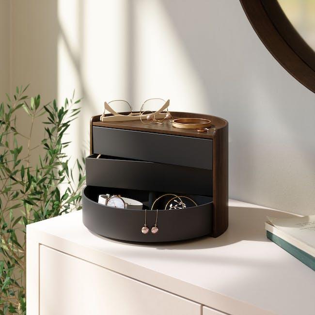 Moona Rotating Storage Box - Black, Walnut - 1