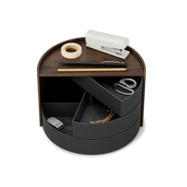 Moona Rotating Storage Box - Black, Walnut - 4
