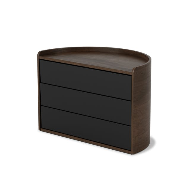 Moona Rotating Storage Box - Black, Walnut - 3