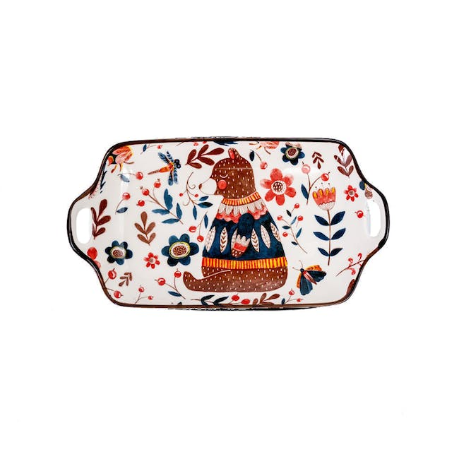 Table Matters Grover Bear Rectangular Plate with Handles - 0