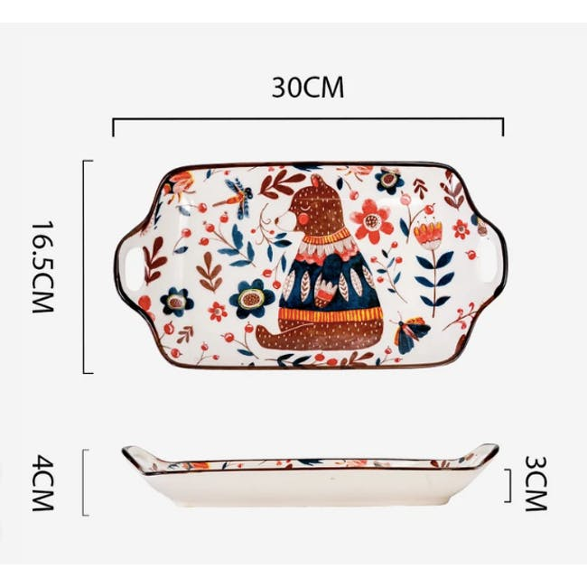 Table Matters Grover Bear Rectangular Plate with Handles - 3