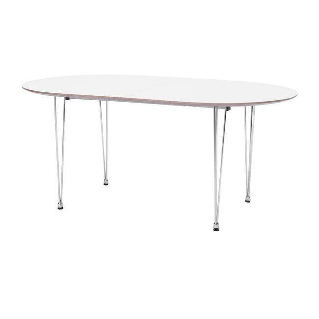 (As-is) Rikku Extendable Oval Dining Table 1.7m - White, Oak, Chrome - 1 - 0