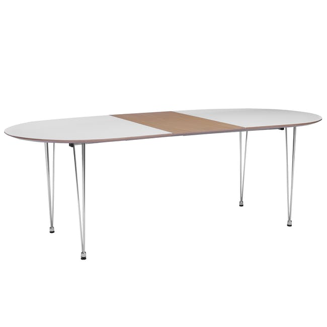 (As-is) Rikku Extendable Oval Dining Table 1.7m - White, Oak, Chrome - 1 - 15