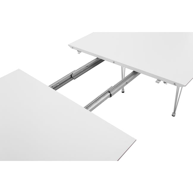 (As-is) Rikku Extendable Oval Dining Table 1.7m - White, Oak, Chrome - 1 - 16