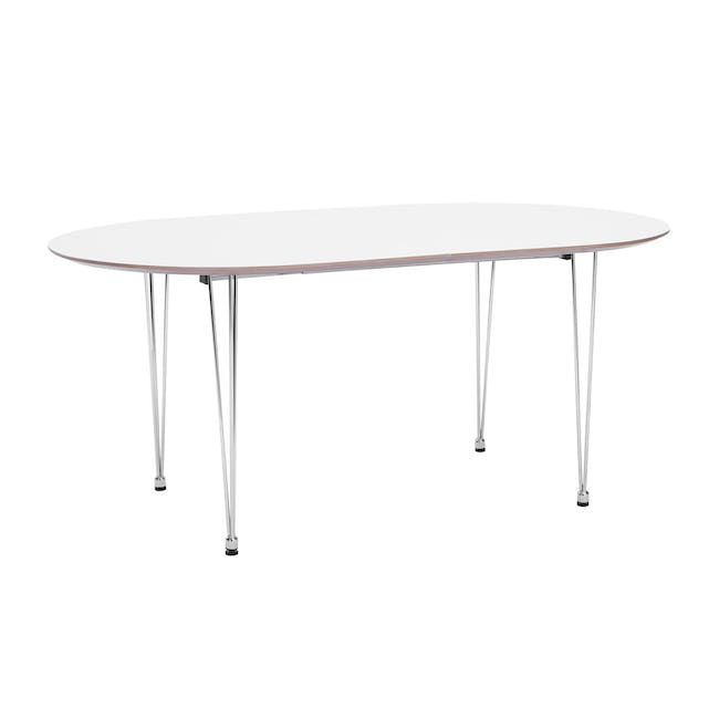 (As-is) Rikku Extendable Oval Dining Table 1.7m - White, Oak, Chrome - 1 - 17