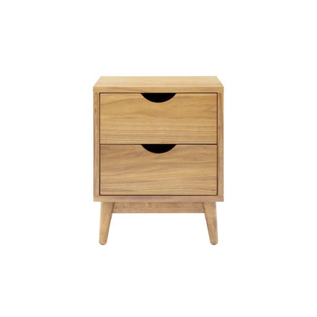 Kyoto Twin Drawer Bedside Table - Oak - 1