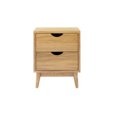 Kyoto Twin Drawer Bedside Table - Oak - Image 1