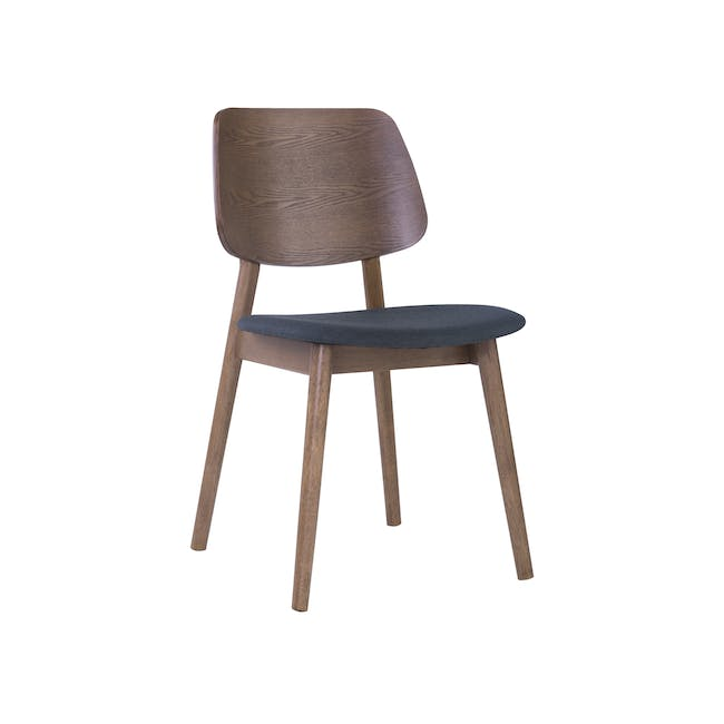 Roden Dining Table 1.8m in Cocoa and 4 Riley Dining Chairs in Dark Grey - 5