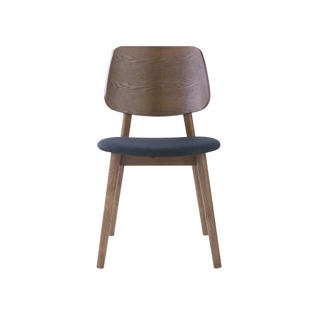 Roden Dining Table 1.8m in Cocoa and 4 Riley Dining Chairs in Dark Grey - 6