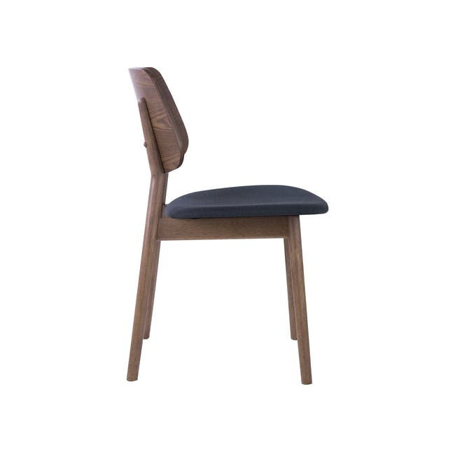 Roden Dining Table 1.8m in Cocoa and 4 Riley Dining Chairs in Dark Grey - 7