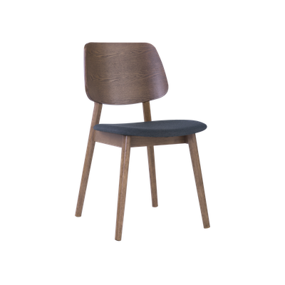 Riley Dining Chair - Walnut, Dark Grey - Image 1
