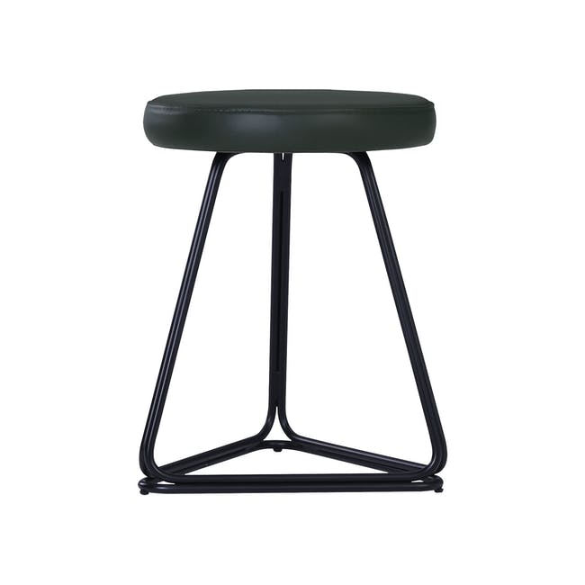 Tivona Stool - Black, Dark Green (Genuine Cowhide) - 1