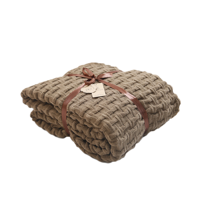 Camille Knitted Throw Blanket - Coffee - Image 1