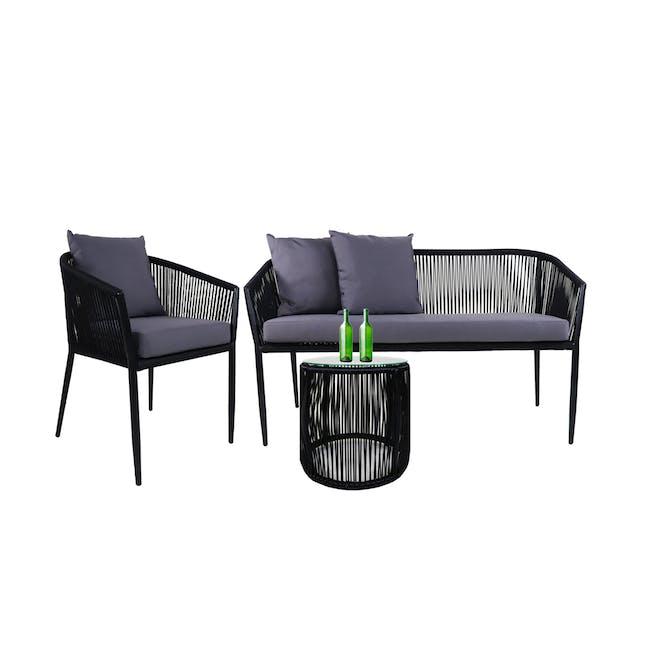 Kyoto Loveseat & 1 Armchair Set - Grey Cushion - 0