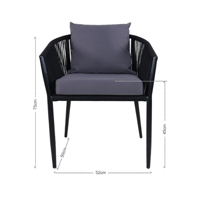 Kyoto Loveseat & 1 Armchair Set - Grey Cushion - 5