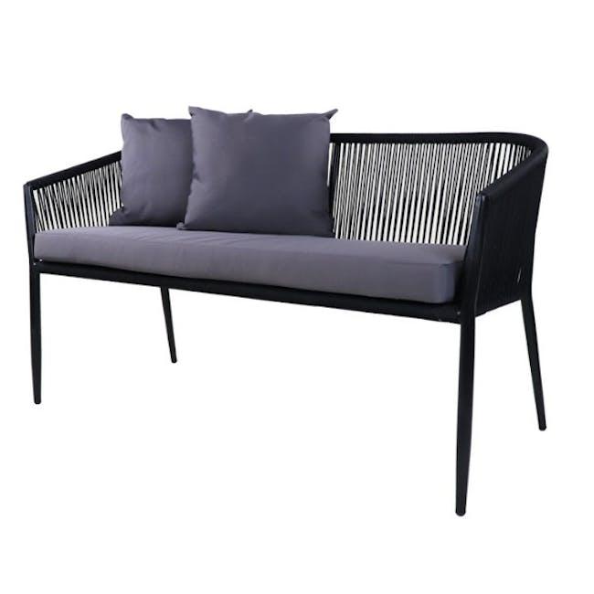 Kyoto Loveseat & 1 Armchair Set - Grey Cushion - 2