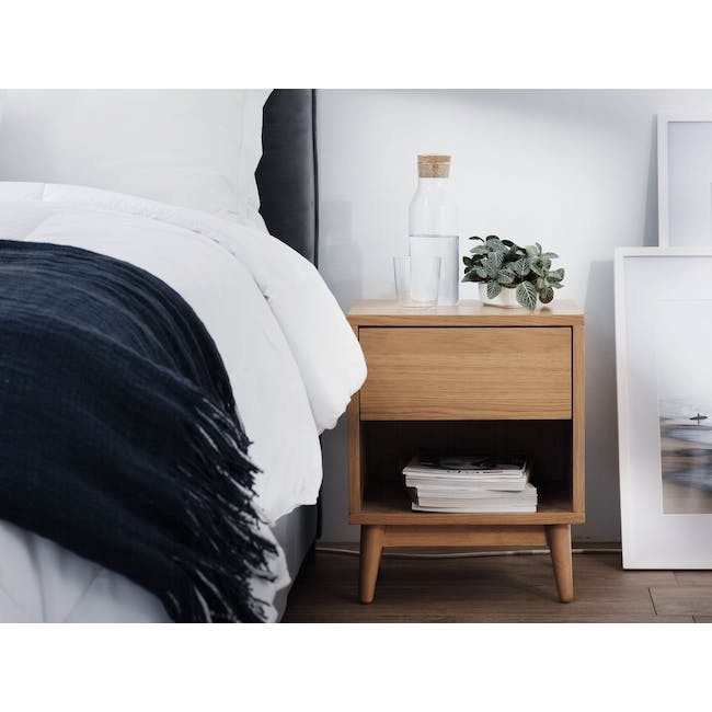 Audrey King Storage Bed in Silver Fox with 2 Kyoto Top Drawer Bedside Tables in Oak - 11
