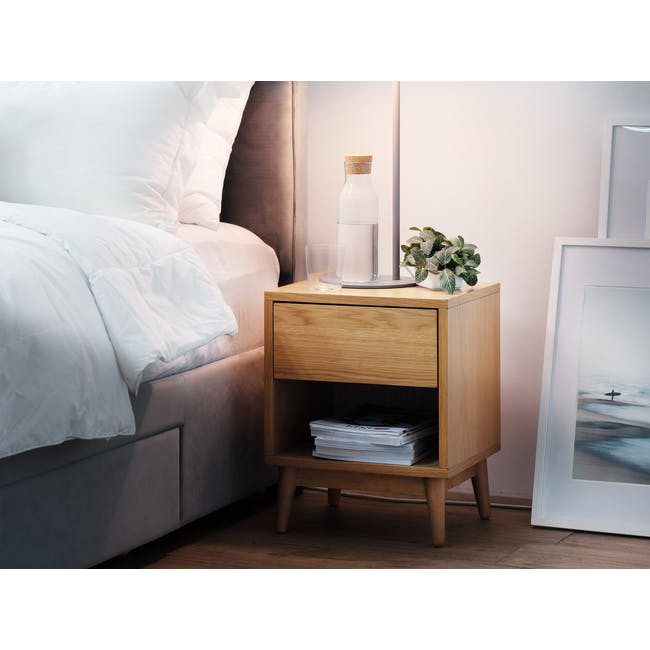 Audrey King Storage Bed in Silver Fox with 2 Kyoto Top Drawer Bedside Tables in Oak - 10