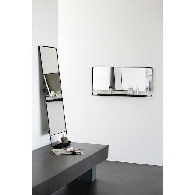 Larry Tall Wall Mirror with Shelf - Black - 3