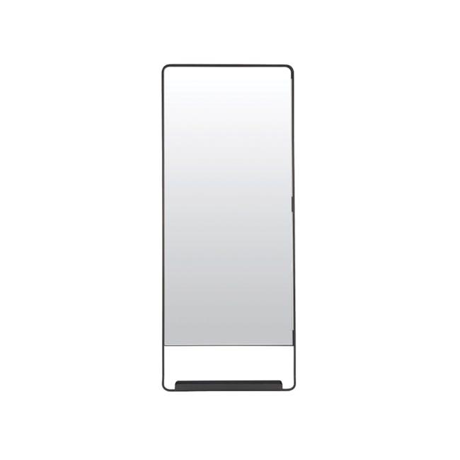 Larry Tall Wall Mirror with Shelf - Black - 0