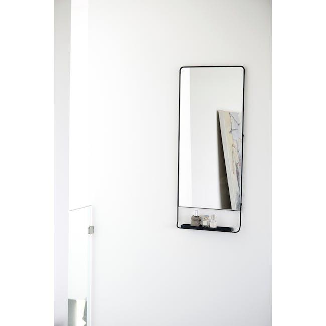 Larry Tall Wall Mirror with Shelf - Black - 1