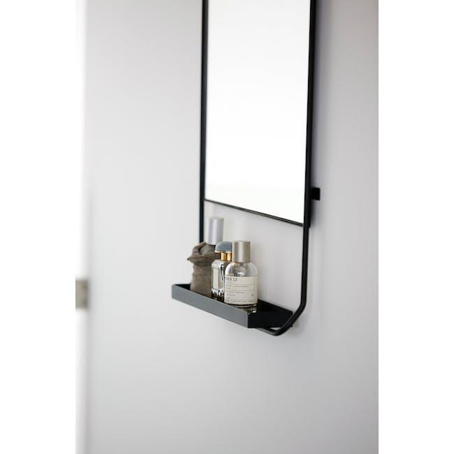 Larry Tall Wall Mirror with Shelf - Black - 2