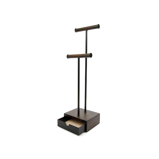 Pillar Jewelry Stand with Drawer - Walnut - 2