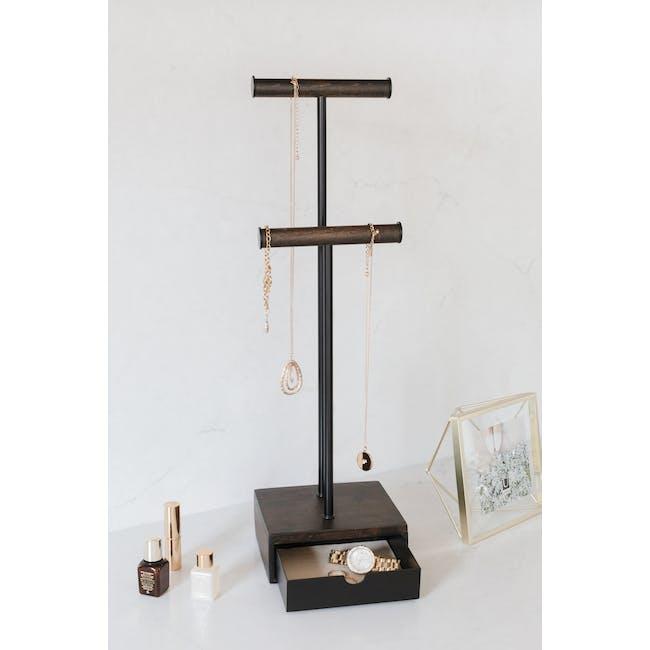 Pillar Jewelry Stand with Drawer - Walnut - 5