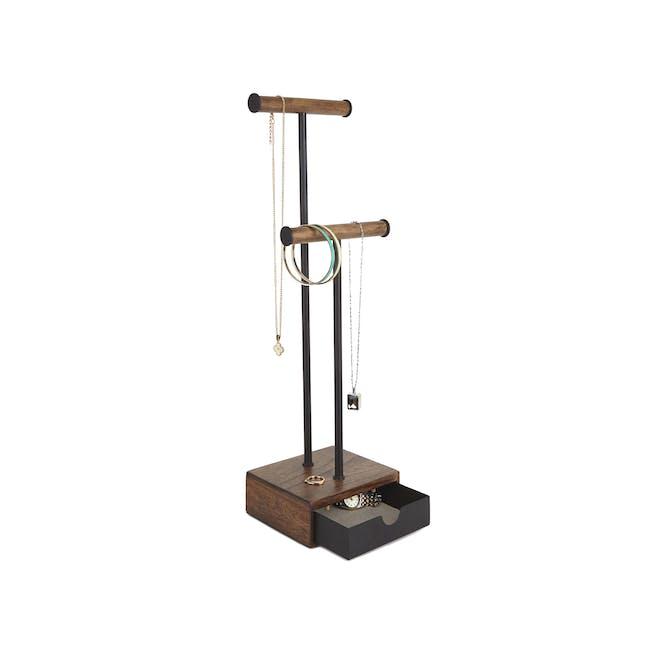 Pillar Jewelry Stand with Drawer - Walnut - 0