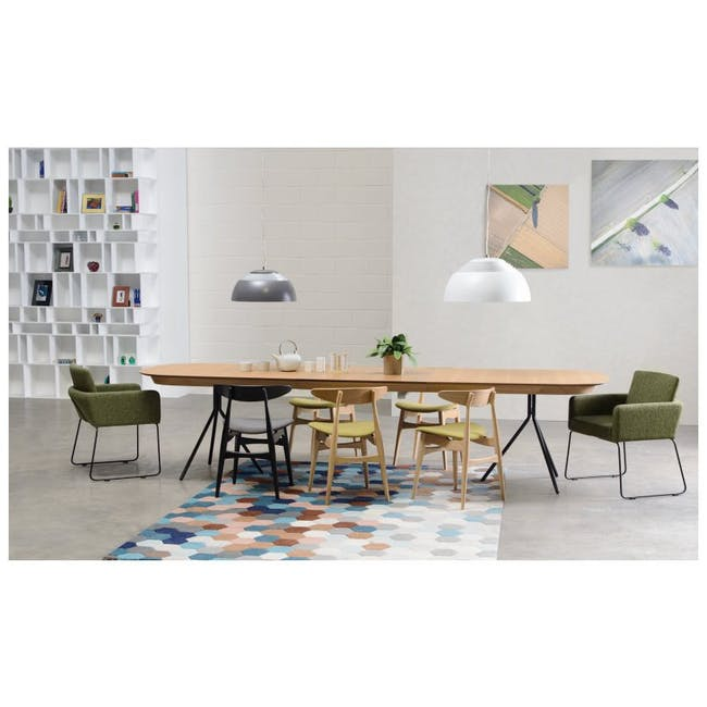 Delma Dining Armchair - Matt Black, Teal - 1