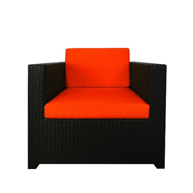 Black Fiesta Outdoor Sofa Set II - Orange Cushions - 1