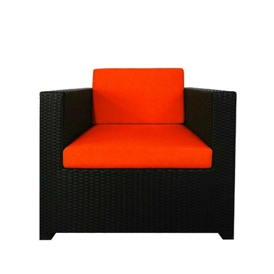 Black Fiesta Sofa Set II with Orange Cushions - Image 2