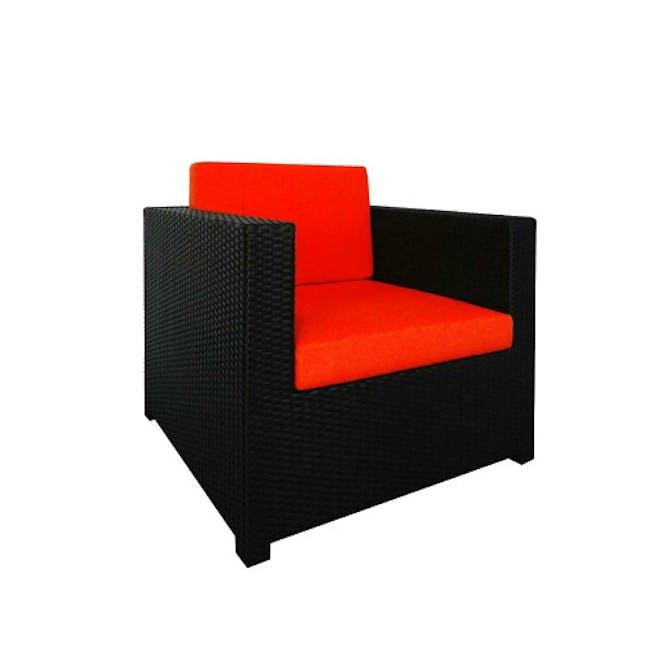 Black Fiesta Outdoor Sofa Set II - Orange Cushions - 2