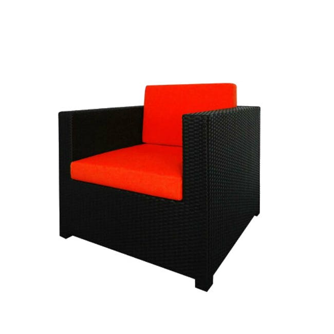 Black Fiesta Outdoor Sofa Set II - Orange Cushions - 3