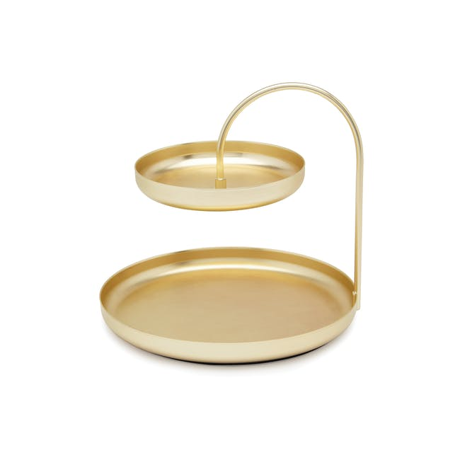 Poise 2-Tiered Tray - Brass - 0