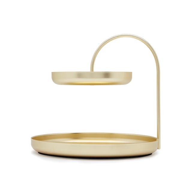 Poise 2-Tiered Tray - Brass - 4