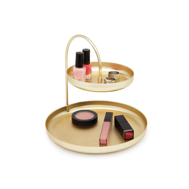 Poise 2-Tiered Tray - Brass - 3