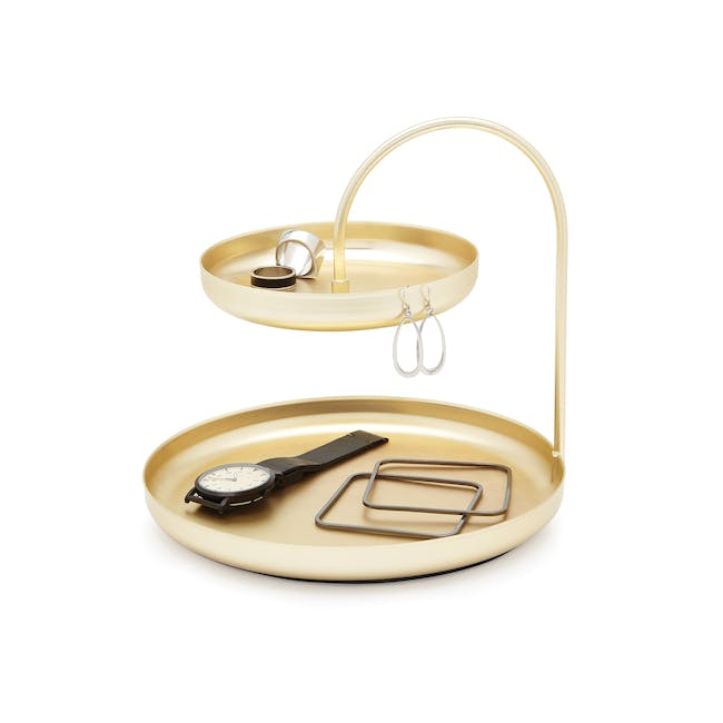 Poise 2-Tiered Tray - Brass - 2